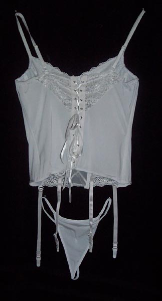 835b285048 Overbust Lightly Boned Corset and Suspenders in White or Black